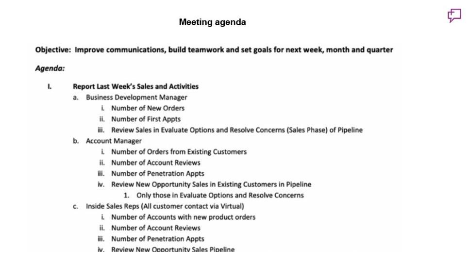 A sample of a meeting agendda