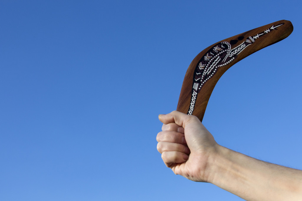 Boomerang Employees_A boomerang is a throwing tool, constructed as a flat aerofoil, that is designed to spin about an axis perpendicular to the direction of its flight and to return to the thrower