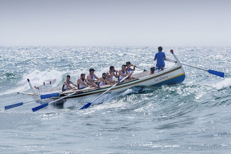 Men rowing a boat