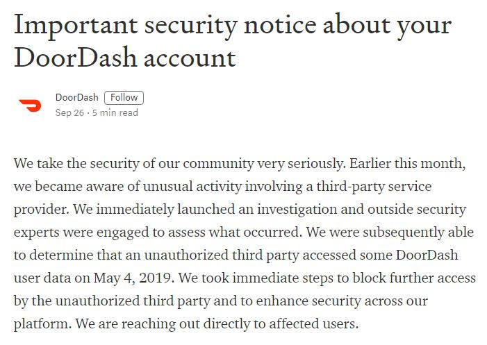 DoorDash Breach Notification