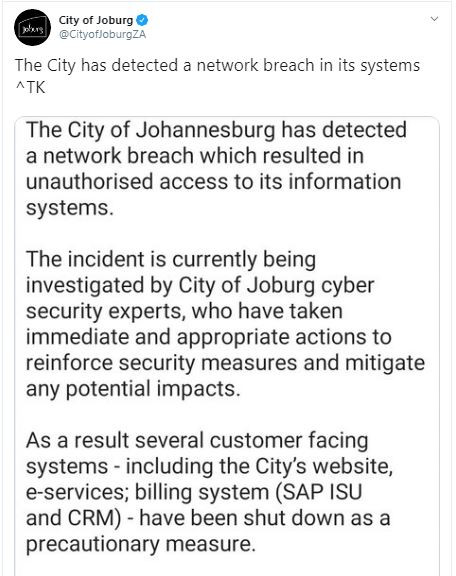 City of Johannesburg tweet