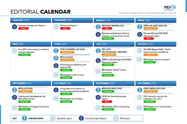 PEX Network Editorial Calendar