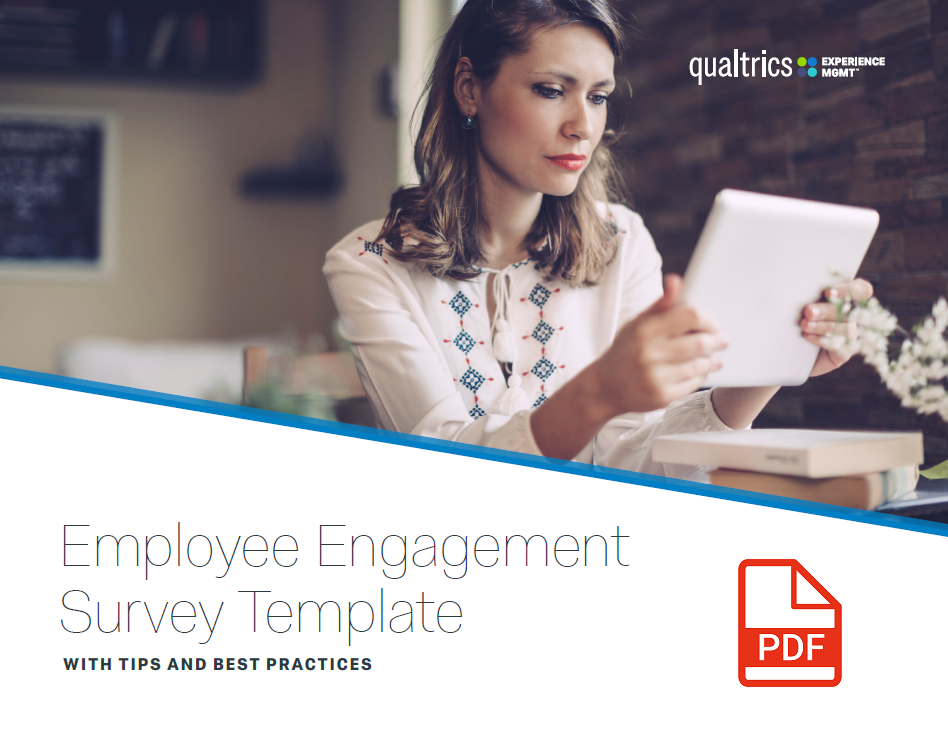qualtrics employee experience survey template cover with red PDF Logo