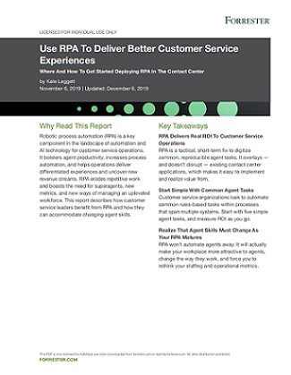 image of forester report on RPA and customer experience