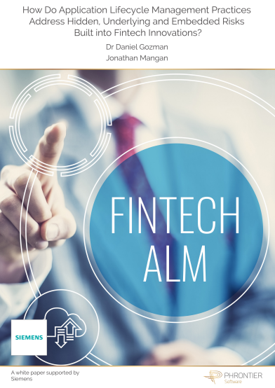 How do application lifecycle management practices address hidden, underlying and embedded risks built into fintech innovations?