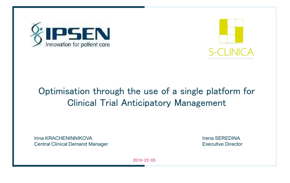 Optimisation through the use of a single platform for Clinical Trial Anticipatory Management