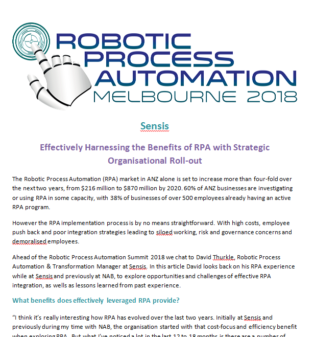 Sensis: Effectively Harnessing the Benefits of RPA with Strategic Organisational Roll-out