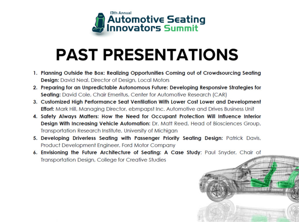 A Collection of Past Presentations from Automotive Seating Innovators 2018