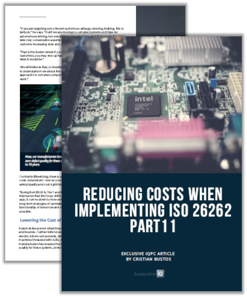 Automotive IQ Article: Reducing Costs when Implementing ISO 26262 Part 11