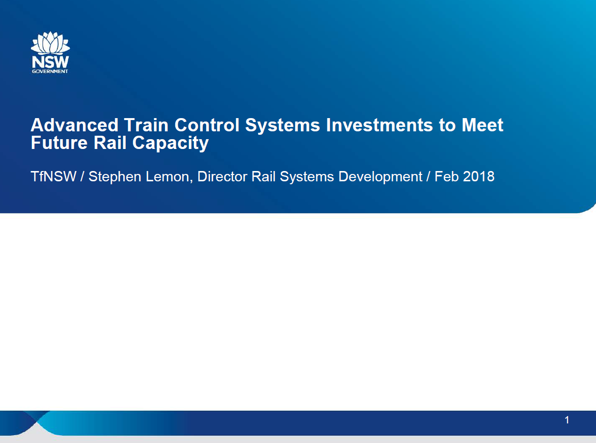 Advanced Train Control Systems Investments to Meet Future Rail Capacity