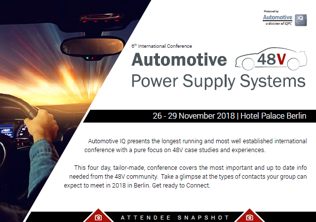 Attendee Snapshot: 6th International Conference - Automotive 48V Power Supply Systems 2018
