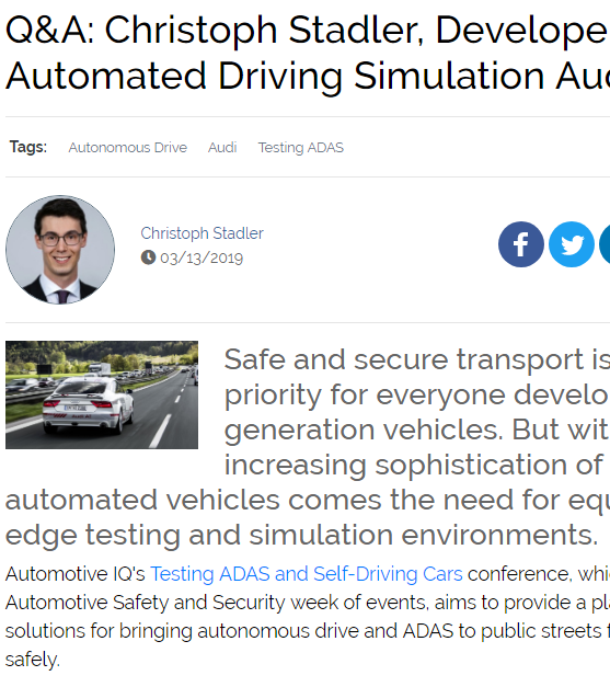 Q&A: Christoph Stadler, Developer of Automated Driving Simulation Audi AG