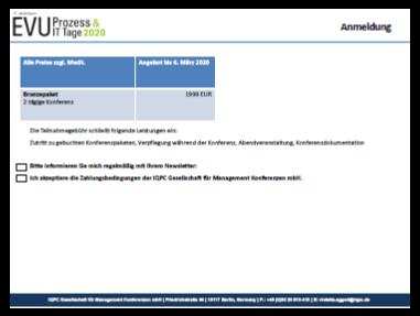 17. Jahresforum der EVU Prozess & IT Tage 2020 – Angebot für ausgewählte Kunden