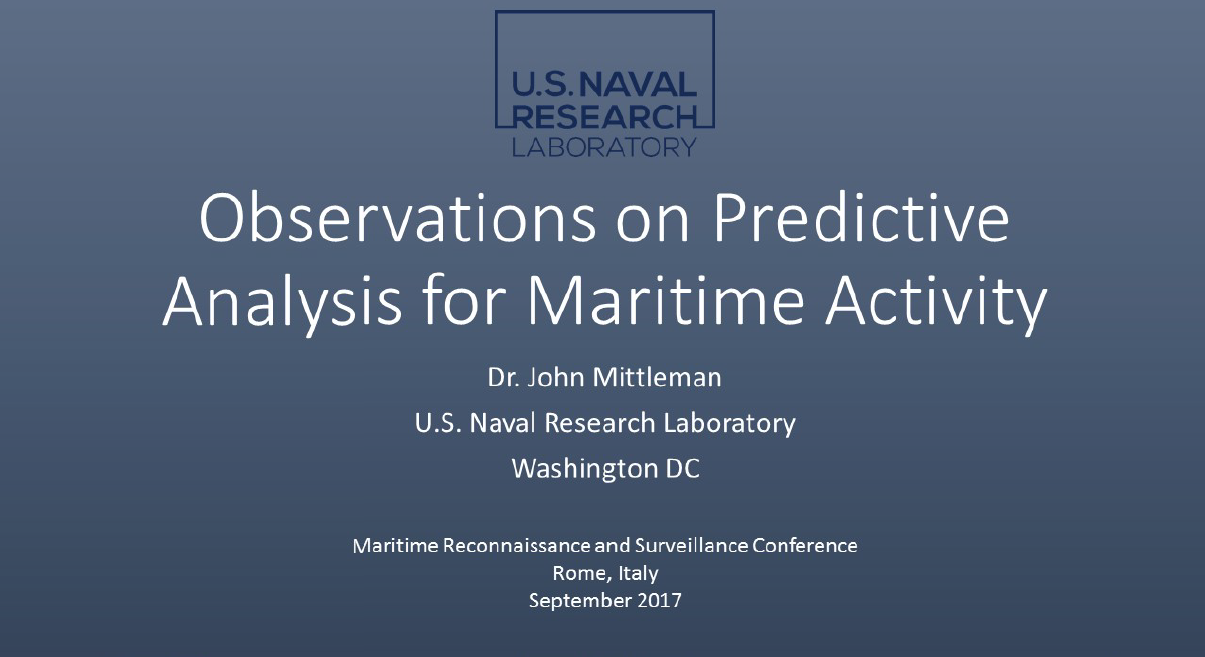 Past Presentation: Observations on Predictive Analysis for Maritime Activity