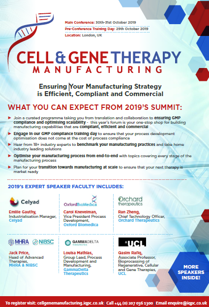 Download the Agenda l Stage 1 Cell and Gene Therapy Manufacturing: