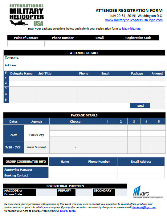 International Military Helicopter Registration Form