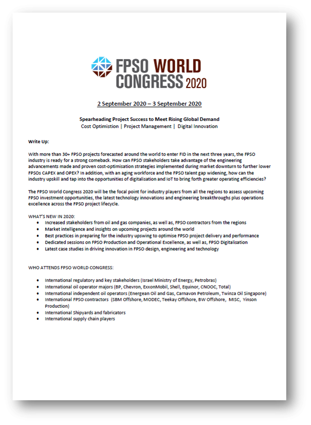 View Preliminary Agenda - FPSO World Congress 2020