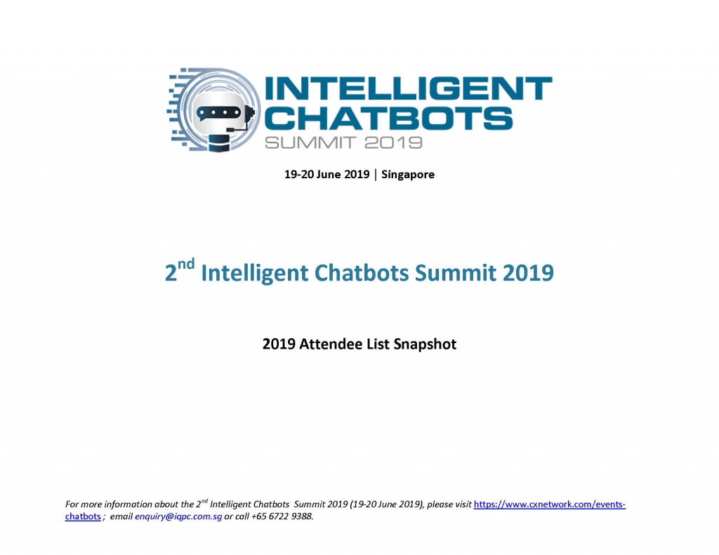 View the 2nd Intelligent Chatbots Summit attendee list 2019