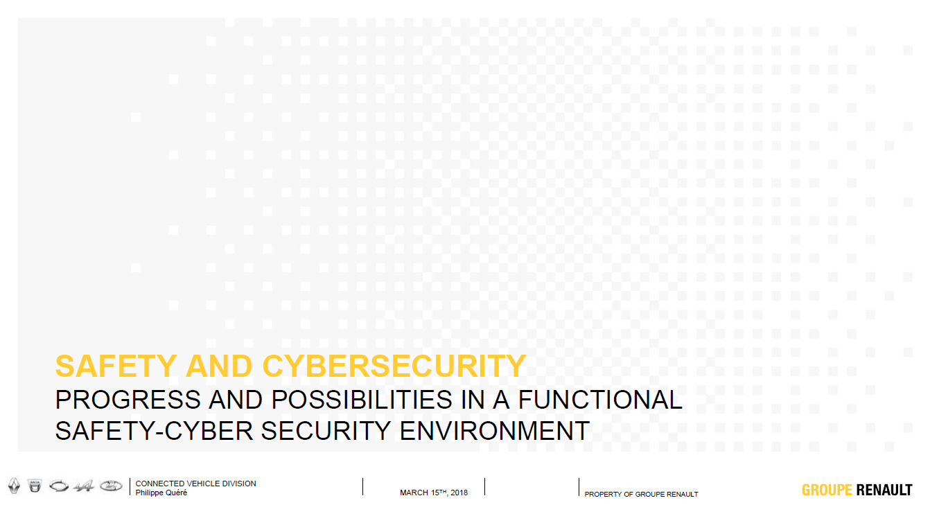 Renault presentation on the links between functional safety and cybersecurity