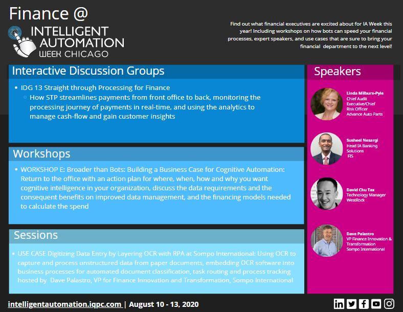 Finance at Intelligent Automation Week 2020