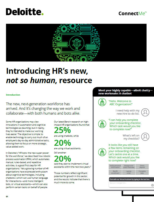 DELOITTE: Introducing HR's new, not so human, resource
