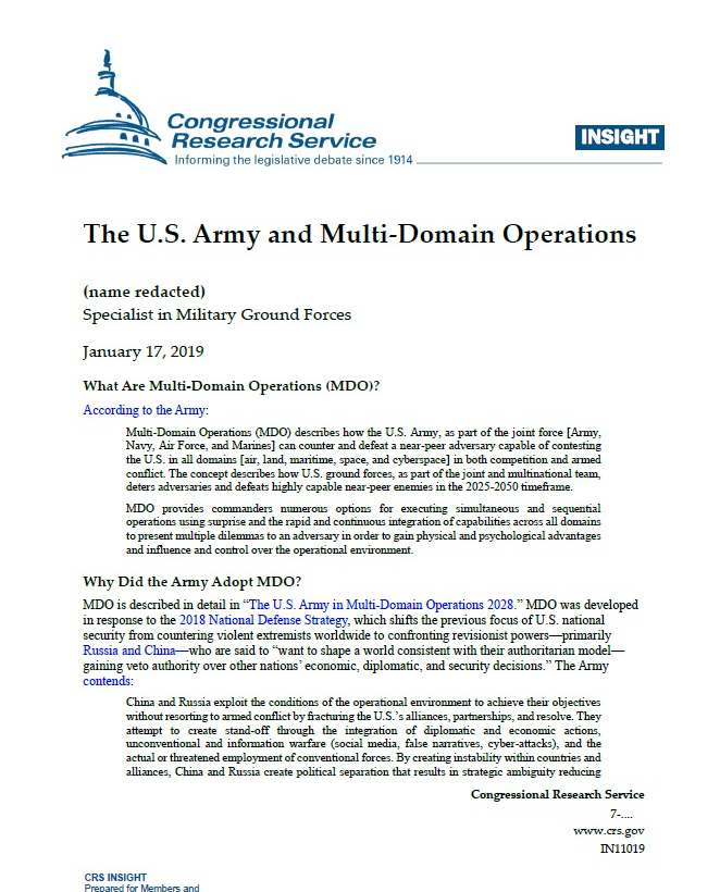 The U.S. Army and Multi-Domain Operations
