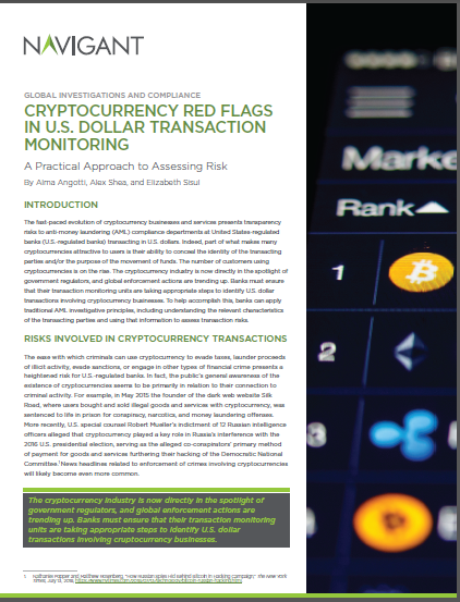 Cryptocurrency Red Flags in US Dollar Transaction Monitoring