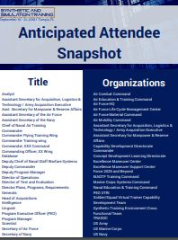 Anticipated Attendee Snapshot: 2018 Synthetic and Simulation Training