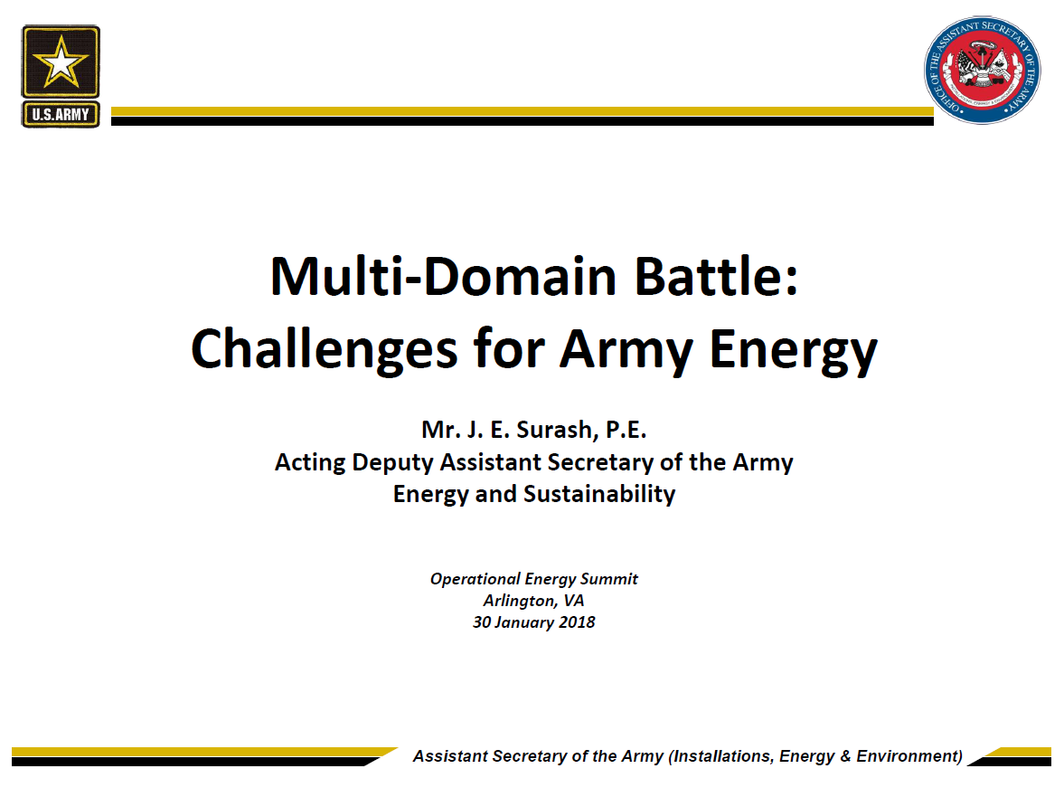Multi-domain Battle Concept: Challenges for Army Energy