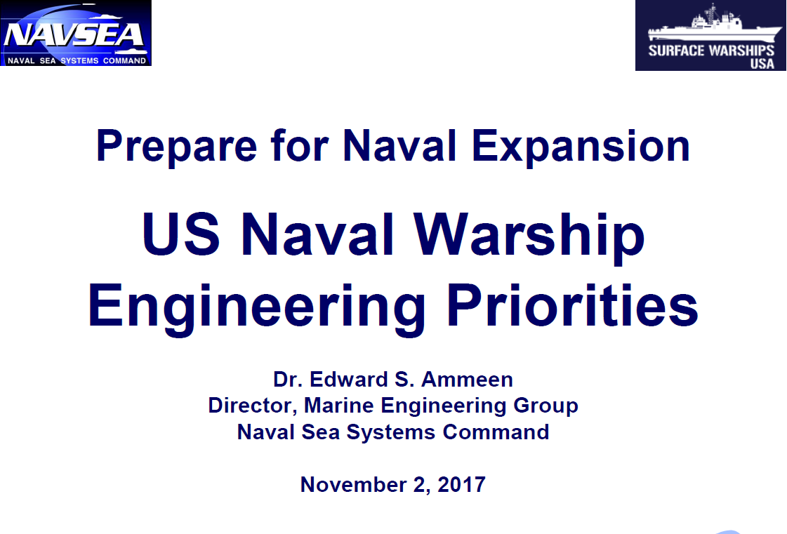 US Naval Warship Engineering Priorities