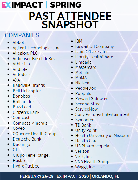 Past Attendee Snapshot: Ex Impact 2020