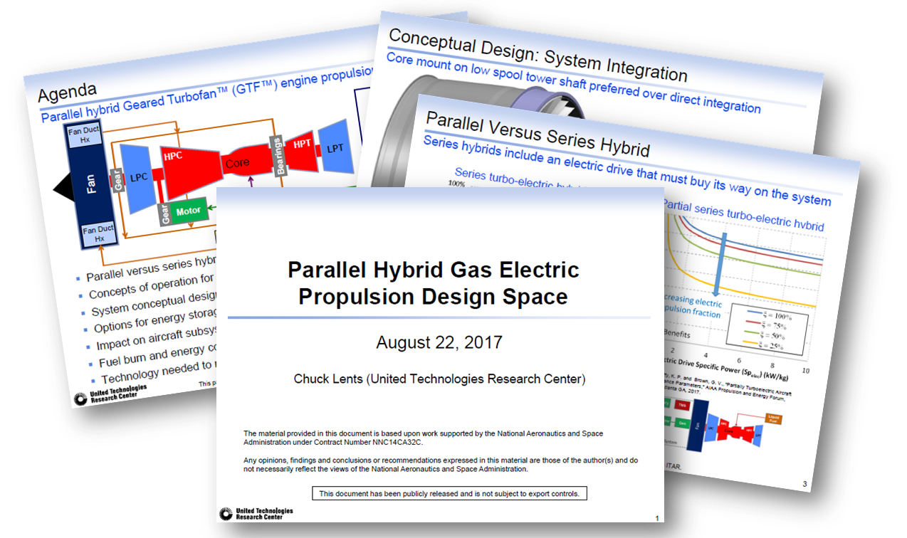 Parallel Hybrid Gas Electric Propulsion Design Space by the United Technologies Research Center