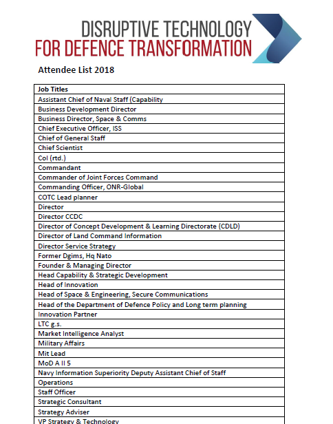 Disruptive Technology for Defence Transformation 2018 Attendee List