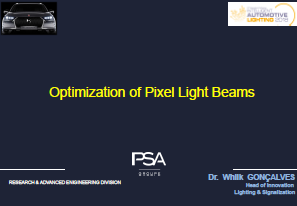 PSA Group Presentation on Optimisation of Automotive Pixel Light Beams