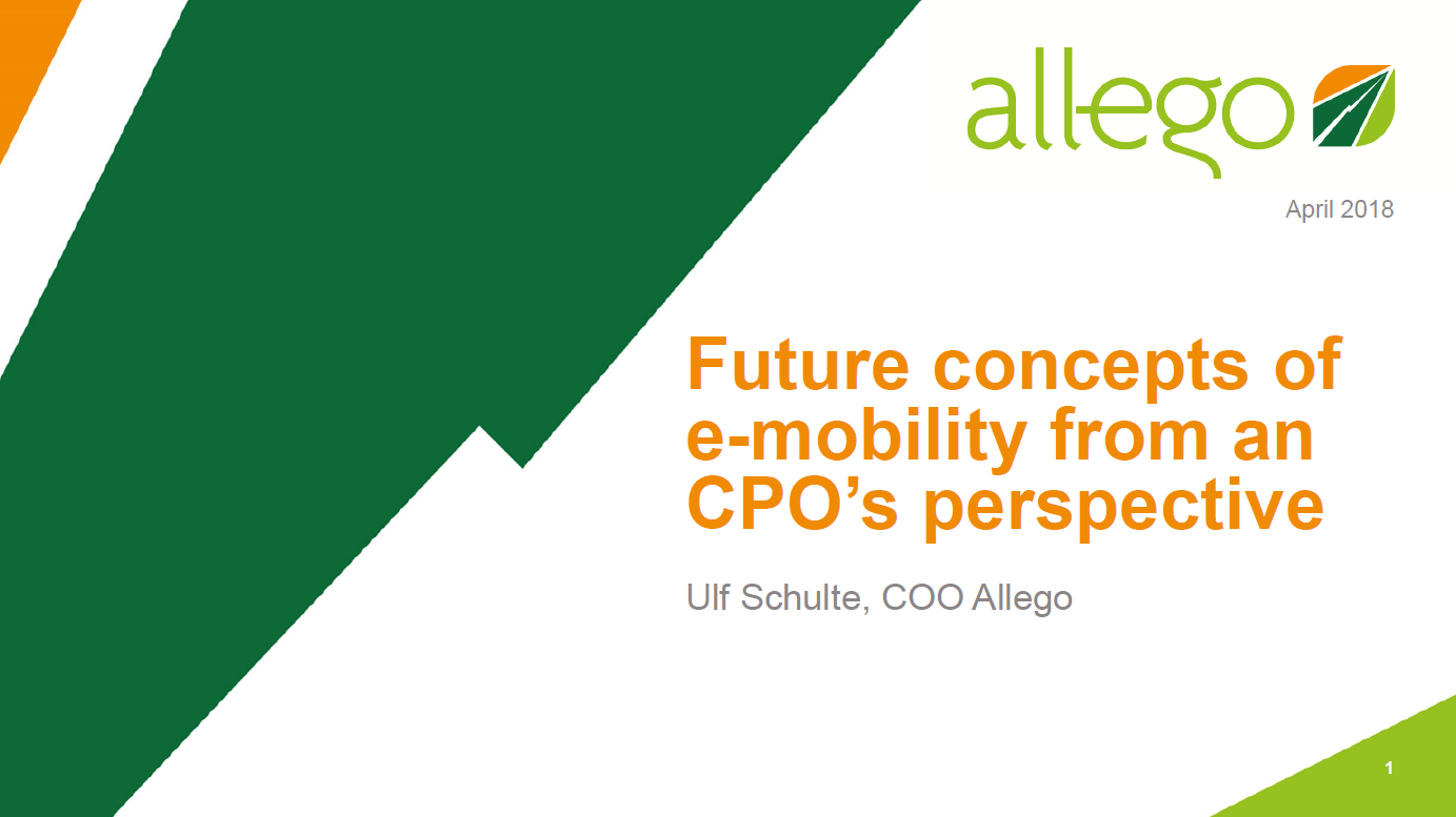 Presentation on future concepts of e-mobility from an CPO's perspective