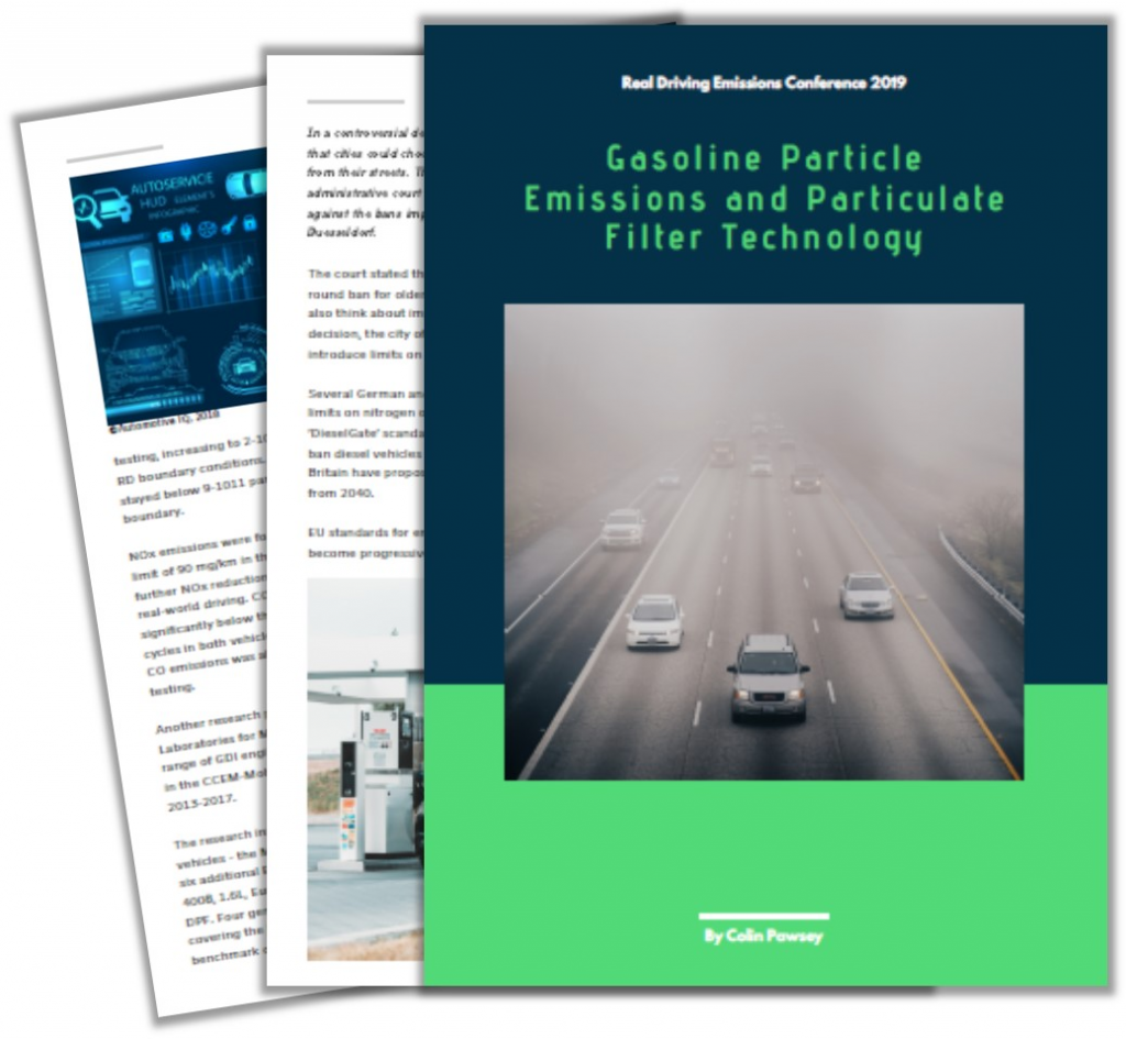 Article on Gasoline Particle Emissions and Particulate Filter Technology