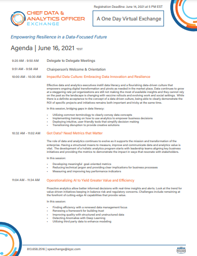 Get the latest! Download the June 2021 Virtual CDAO Agenda.