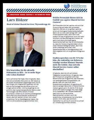 Interview mit Herrn Hölzer, Head of Global Shared Services bei der Thyssenkrupp AG
