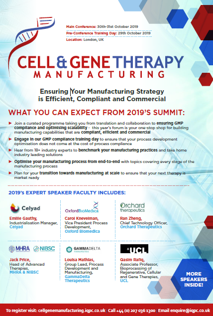 Download the Cell and Gene Therapy Manufacturing Agenda