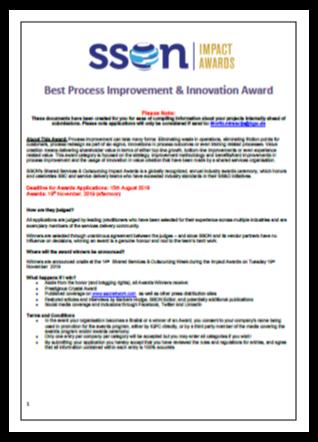 SSON - Process Improvement & Innovation Award 2019
