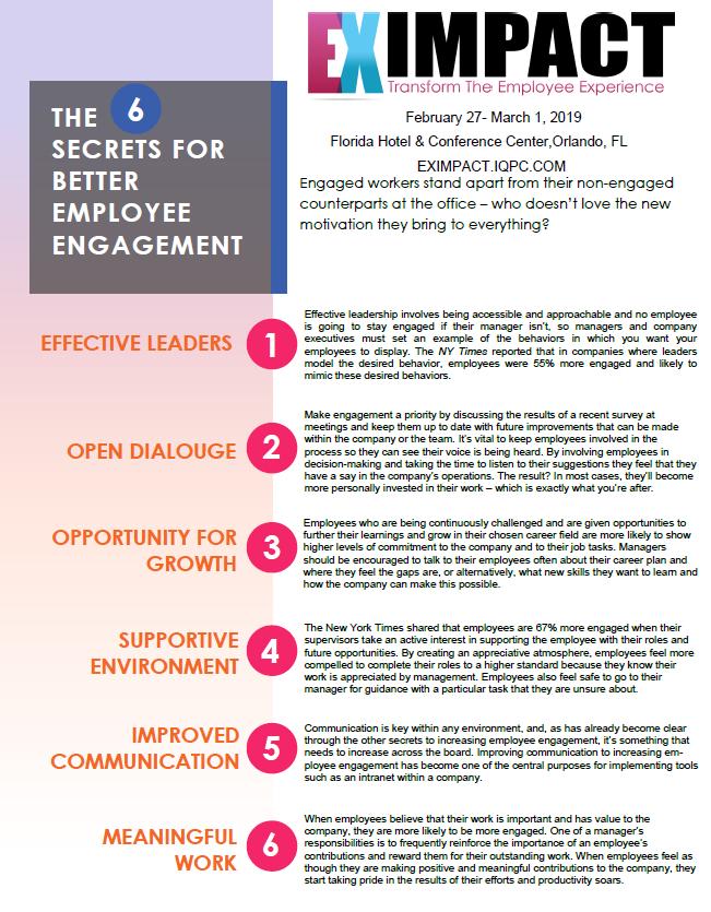6 Secrets for Employee Engagement