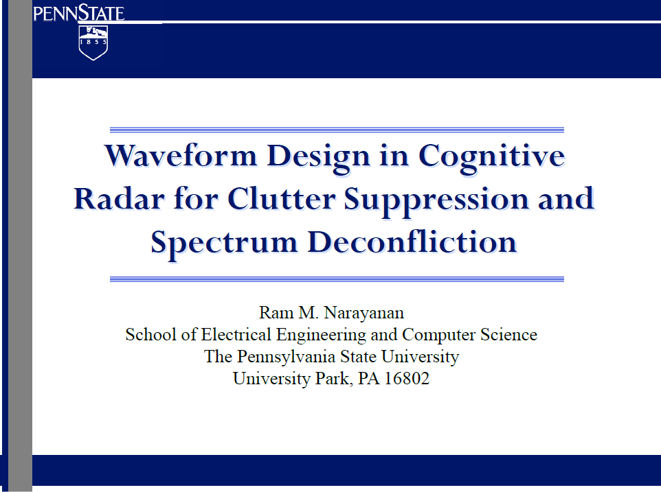 Waveform Design in Cognitive Radar