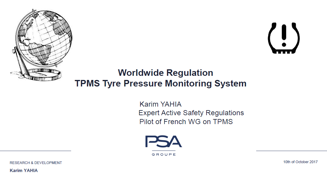 PSA Group Presentation on Worldwide Regulation TPMS Tyre Pressure Monitoring System