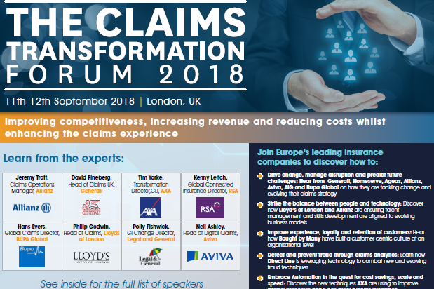 Claims Transformation Forum 2018 Sponsorship & Networking Opportunities