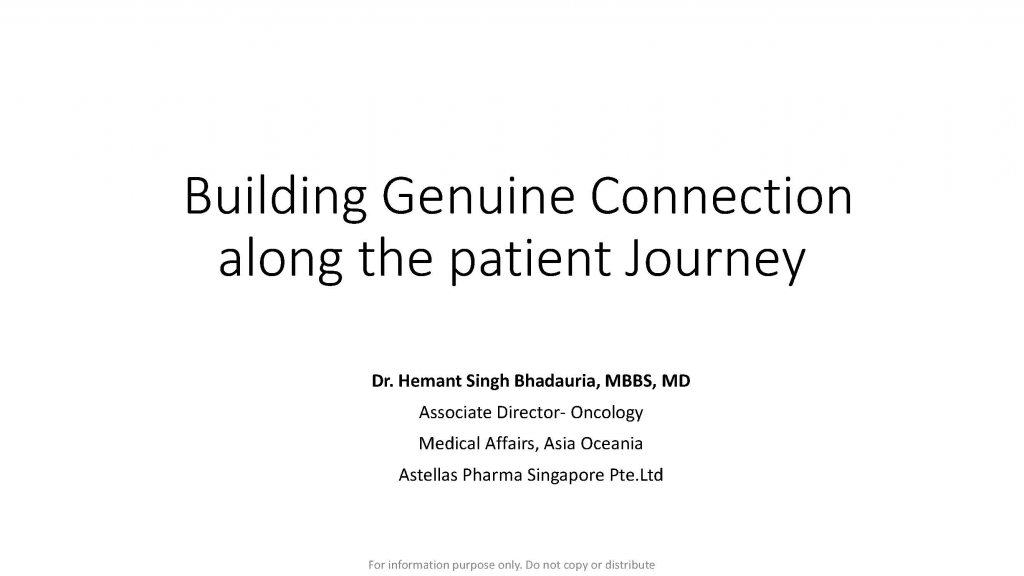 Past Presentation 2018 - Building Genuine Connections Along The Patient Journey
