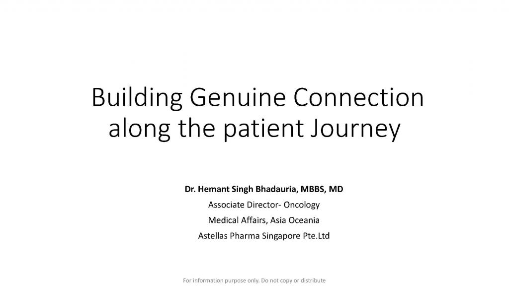 Past Presentation 2018 - Building Genuine Connections Along The Patient Journey