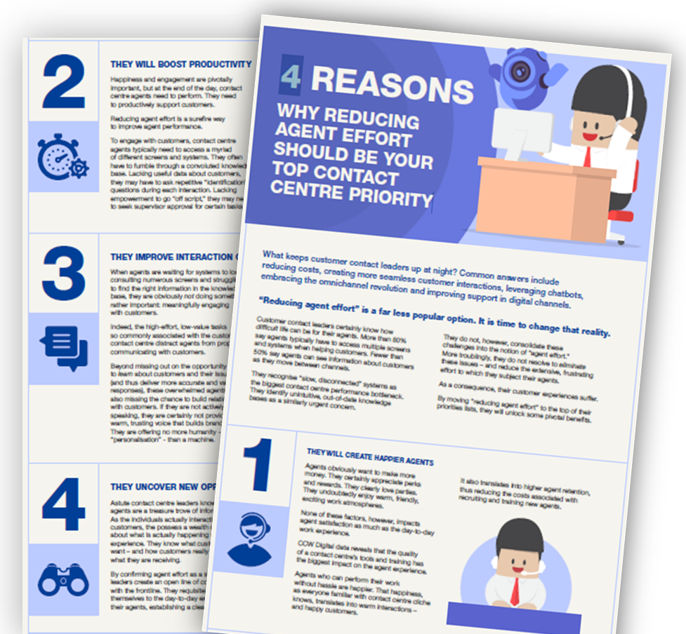 4 Reasons Why Reducing Agent Effort Should Be Your Contact Centre Top Priority