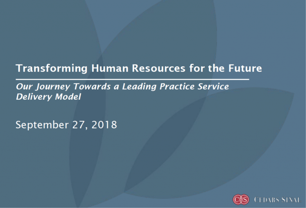 Transforming Human Resources for the Future: Our Journey Towards a Leading Practice Service Delivery Model