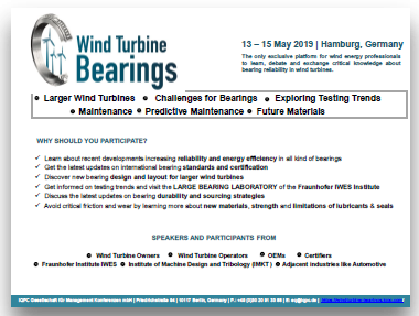 Wind Turbine Bearings Agenda 2019