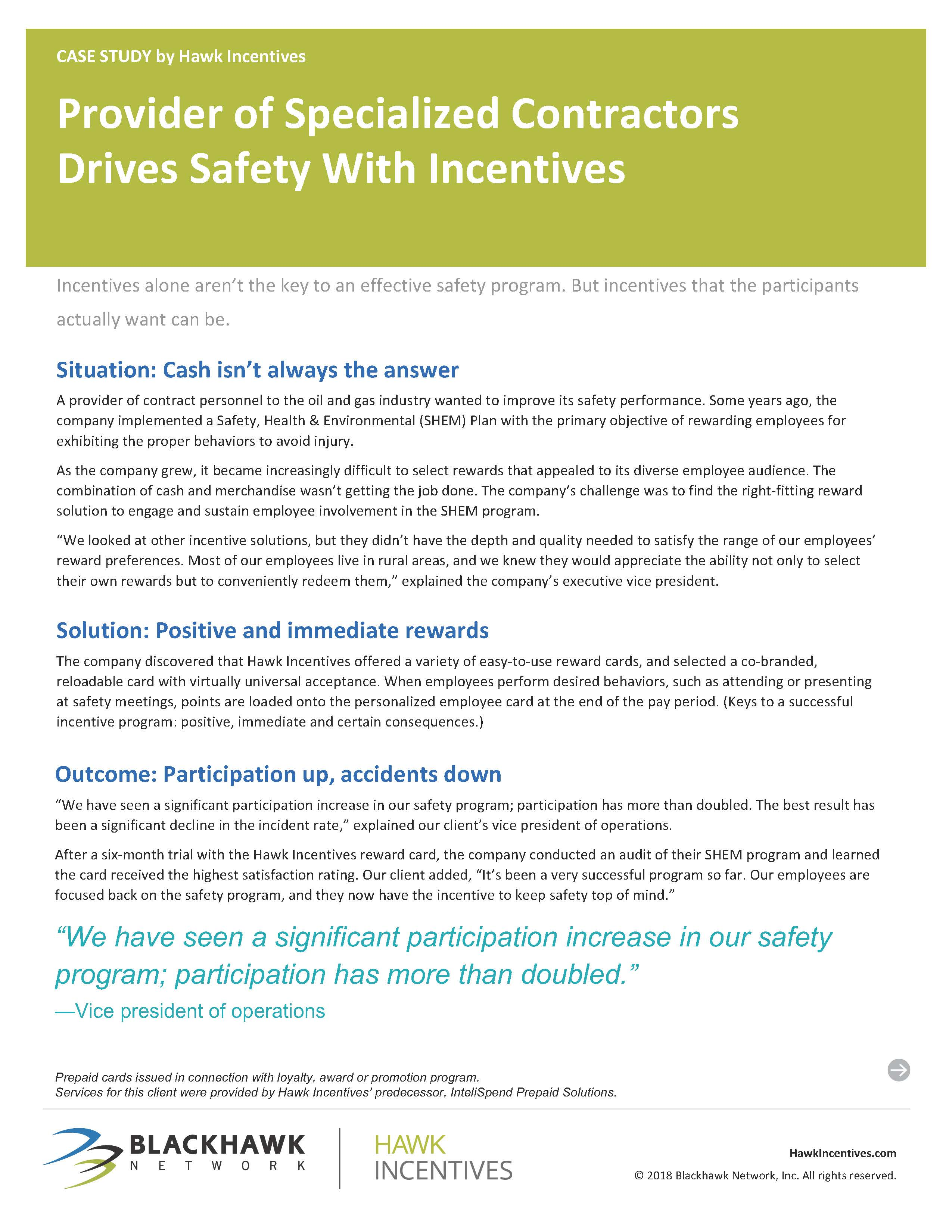 Provider of Specialized Contractors Drives Safety With Incentives